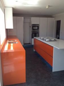 White & Orange Kitchen Worktops